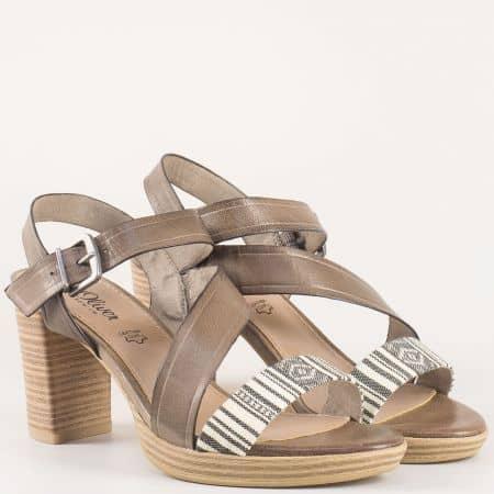 Модерни дамски сандали с етно принт на висок ток в кафяв цвят на немският производител S.Oliver  528338k