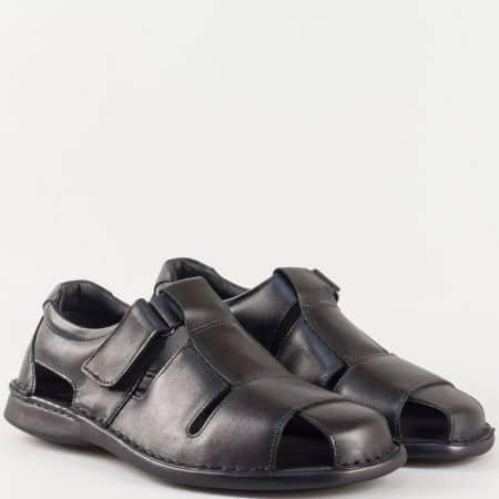 Мъжки комфортни сандали изработени от 100% естествена кожа на български производител в черно 5920ch