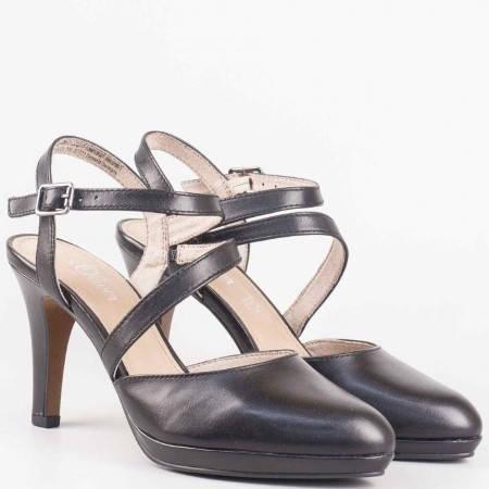 Немски дамски обувки на висок ток от черна естествена кожа- S. Oliver 529601ch