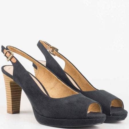 Немски eлегантни обувки на висок ток с отворени пръсти и пета в  черен цвят 529603vch