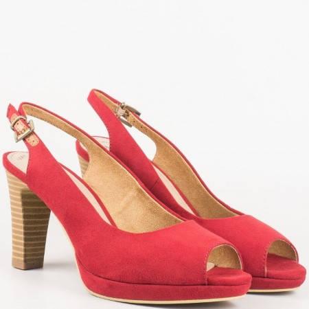 Елегантни червени обувки на висок ток с отворени пръсти и пета от немският производител- S. Oliver 529603vchv
