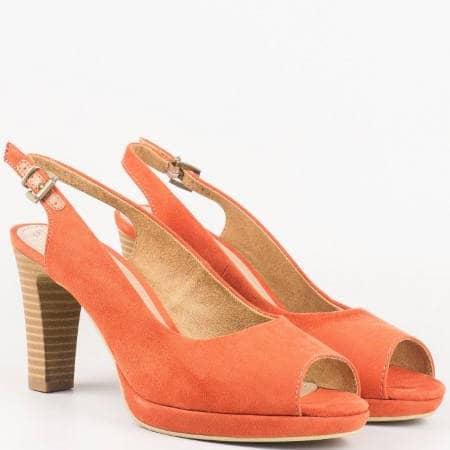 Оранжеви дамски обувки на висок ток с отворени пръсти и пета от утвърден немски производител 529603vo