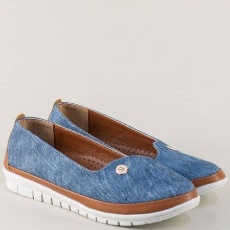 Дамски обувки в синьо и кафяво на равно ходило 52ds