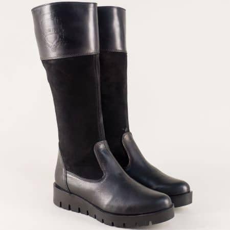Черни дамски ботуши на платформа от естествена кожа и велур 5320621ch