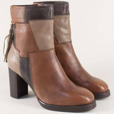 Дамски обувки на висок ток от естествена кожа в кафяво 53346k
