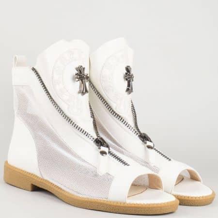 Дамски бели летни боти на нисък ток- Eliza със стелка от естествена кожа 5369940b