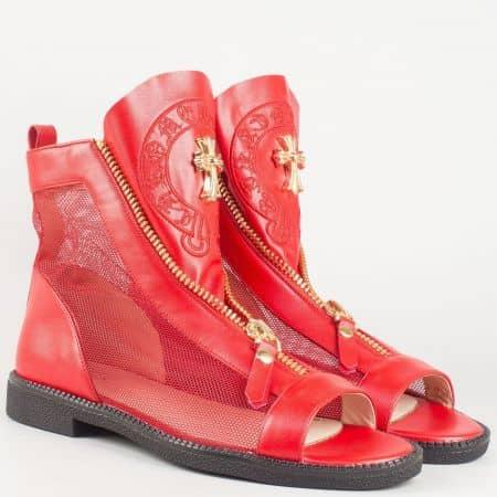Фешън дамски летни боти в червен цвят на нисък ток- Eliza със стелка от естествена кожа 5369940chv