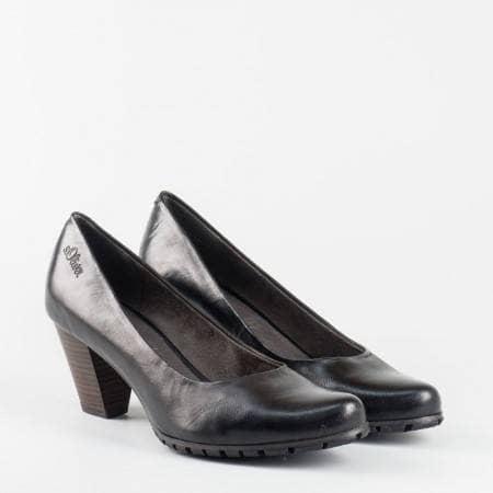 Немски дамски обувки на среден ток с грайфер S.Oliver в черен цвят 5522433ch