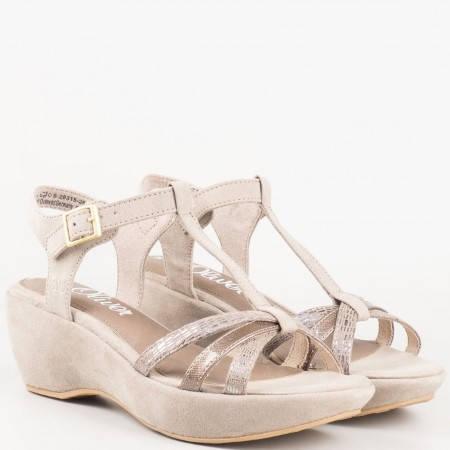 Немски сиви сандали на клин ходило- S. Oliver 5528315sv