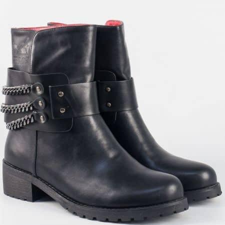 Ежедневни дамски боти в черен цвят на среден ток- Eliza 5675ch