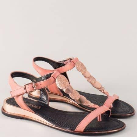 Розови дамски сандали с лента между пръстите 56817rz