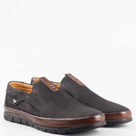Черни мъжки обувки от естесвен набук и кожа на комфортно ходило 579nch