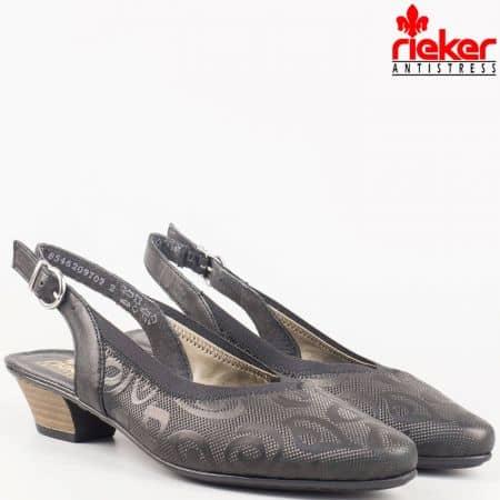 Швеицарски дамски обувки на нисък ток в черена естествена кожа 58072ch