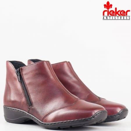 Дамски комфортни боти произведени от висококачествена естествена кожа на антистрес ходило на швейцарския производител Rieker в цвят бордо 58384bd