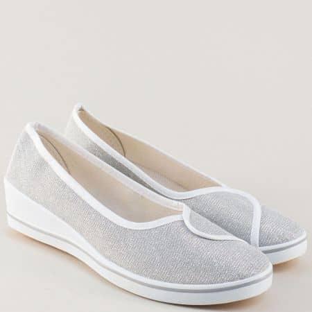 Сребристи дамски обувки на клин ходило 6005b