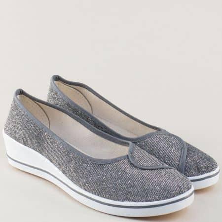 Сиви дамски обувки на бяло клин ходило 6005sv