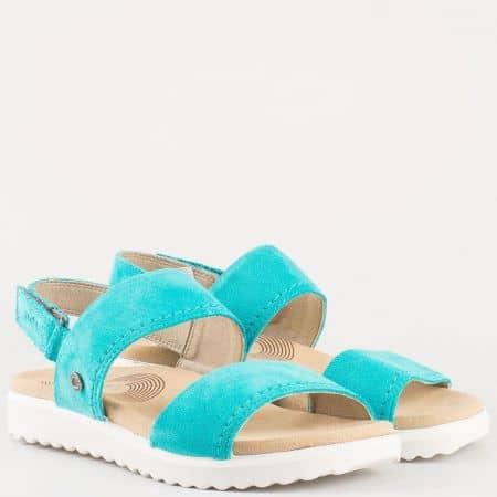 Равни дамски сандали от естествен велур Legero в зелен цвят 600700vz