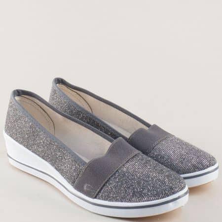 Дамски обувки в сребристо на бяла платформа с ластик 6014sv