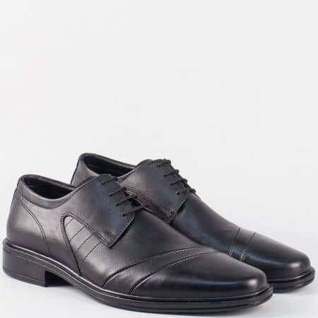 Кожени мъжки обувки в черен цвят с връзки и кожена стелка 6020ch