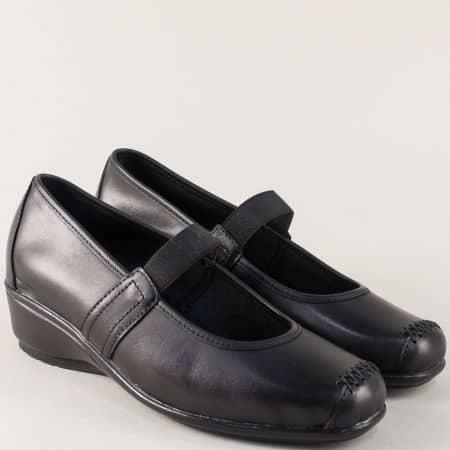Дамски обувки от черна естествена кожа на клин ходило 602ch