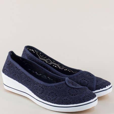 Сини дамски обувки на дупки на комфортно клин ходило 6030s