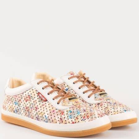 Дамски свежи обувки с връзки за всеки ден от естествена кожа с пъстър принт и перфорация 604bjps