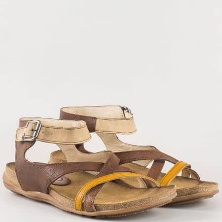 Дамски ежедневни сандали от естествена кожа в жълто и кафяво- български производител 6093kj