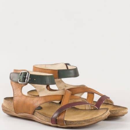 Дамски ежедневни сандали произведени от изцяло естествена кожа на български производител в бордо, зелено и кафяво 6093ps