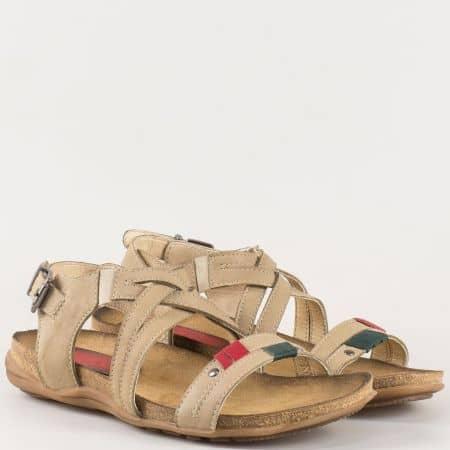 Дамски бежови сандали с преплетени каишки от естествена кожа изцяло на български производител  6095bj