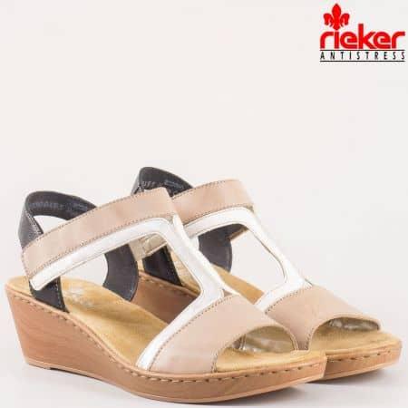 Швейцарски дамски сандали на платформа с лепка от естествена кожа в бежово, бяло и черно 61462bj