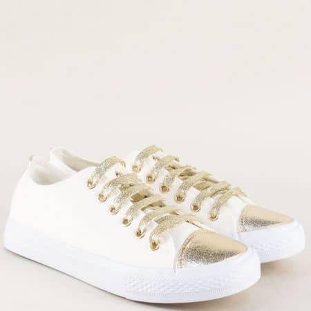 Спортни дамски обувки на равно ходило в бял и златист цвят 6168b