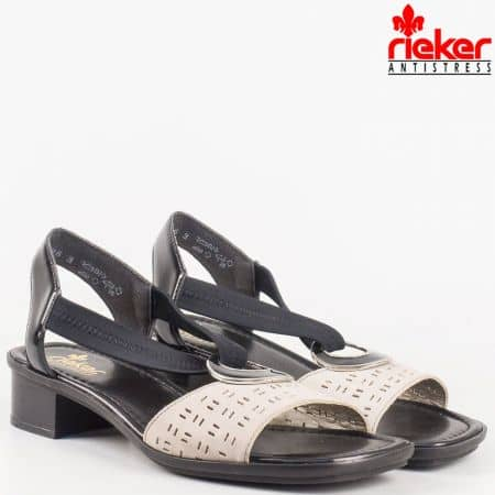 Перфорирани дамски сандали на среден ток с ластик в черн естествен лак и бежов естествен набук- на швейцарският производител Rieker 62655ch