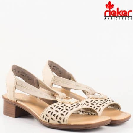 Шити швейцарски сандали- Rieker на среден ток от естествена перфорирана кожа в бежово 62667bj