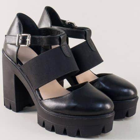 Черни дамски сандали от естествена кожа на висок ток  628ch