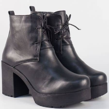 Дамски черни боти от естествена кожа- Nota Bene на стабилен висок ток 63051052ch
