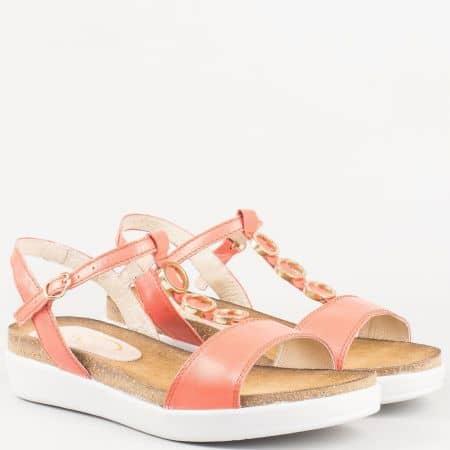 Актуални дамски сандали с метален орнамент в оранж на платформа от естествена кожа изцяло- български производител 63415o