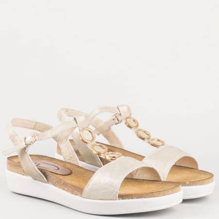 Златни дамски сандали на плотформа от естествена кожа- български производител 63415zl