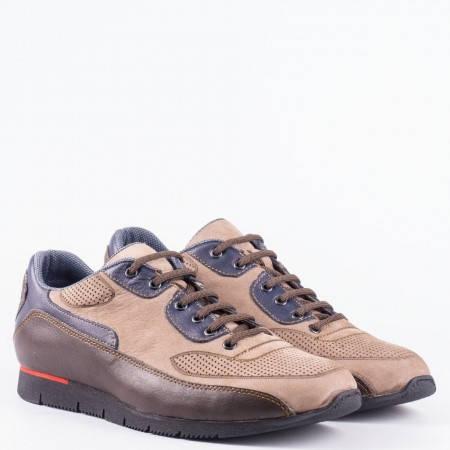 Мъжки спортни обувки от естествен набук и кожа с ефектна цветова комбинация и връзки  63892k