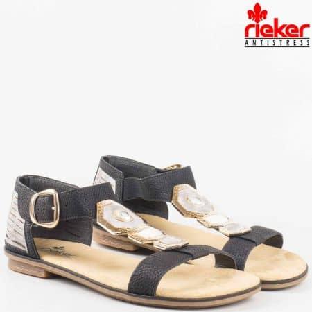 Дамски комфортни сандали на меко удобно ходило на швейцарската марка Rieker в черен цвят 64290ch