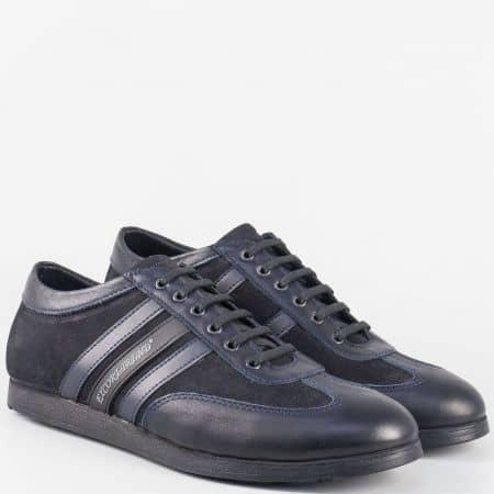 Сини мъжки обувки с връзки от естествена кожа и набук 64s
