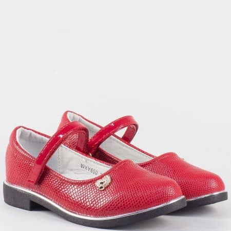 Детски червени обувки на нисък ток с кожена ортопедична стелка- Athletic 650-35chv