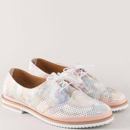 Пъстри дамски обувки от перфорирана естествена кожа 650011ps