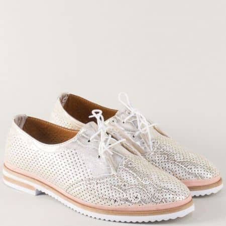 Кожени дамски обувки с връзки в розово и златисто 650011zl