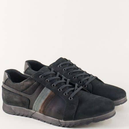 Мъжки спортни обувки от естествена кожа и набук в черно 651ch