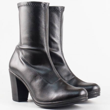 Дамски ежедневни боти от висококачествен стреч материал на висок ток на български производител в черен цвят 65436150ch