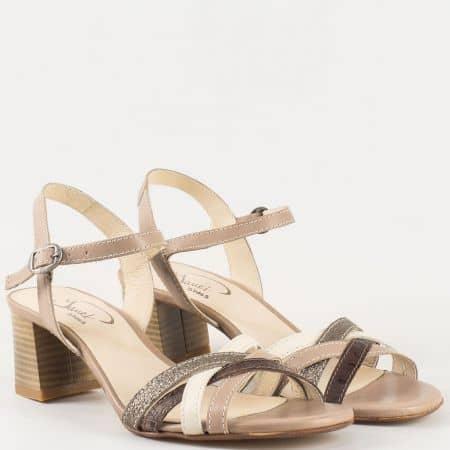 Дамски сандали с атрактивна визия произведени от 100% естестевена кожа на български производител в бежово и кафяво 65501ps