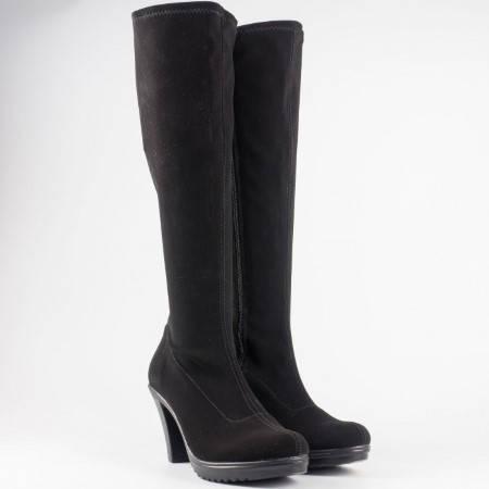 Дамски ботуши на висок ток от стреч материал на български производител в черен цвят 65510285nch