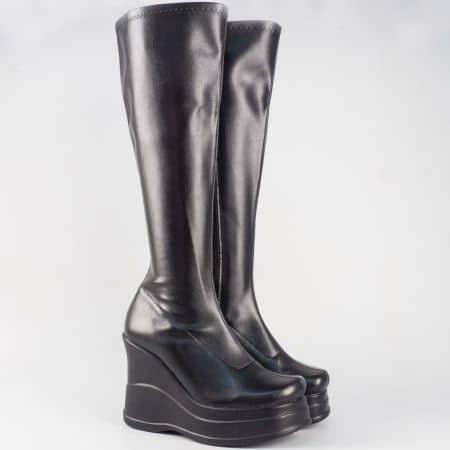Черни дамски стреч ботуши на палтформа 6552311ch