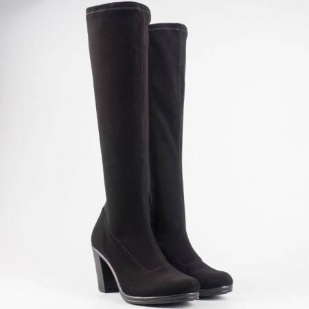 Дамски стреч ботуши на удобен висок ток на български производител в черен цвят 65536150nch