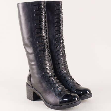 Черни дамски ботуши на среден ток от естествена кожа и лак 65ch
